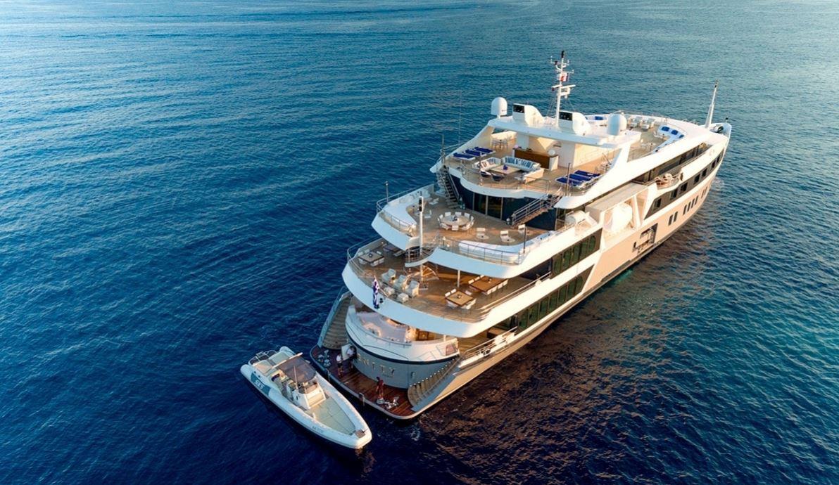 Superyacht at anchor