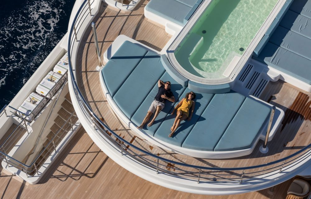 Couple relaxing on Superyacht