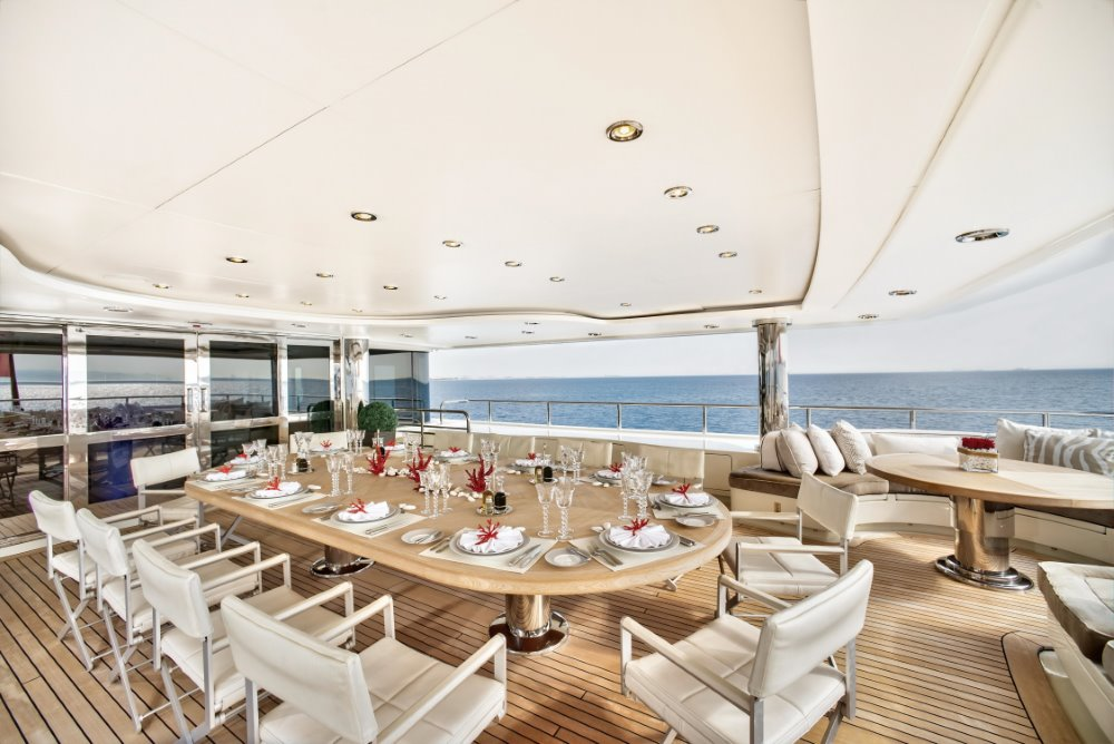Dining on a superyacht