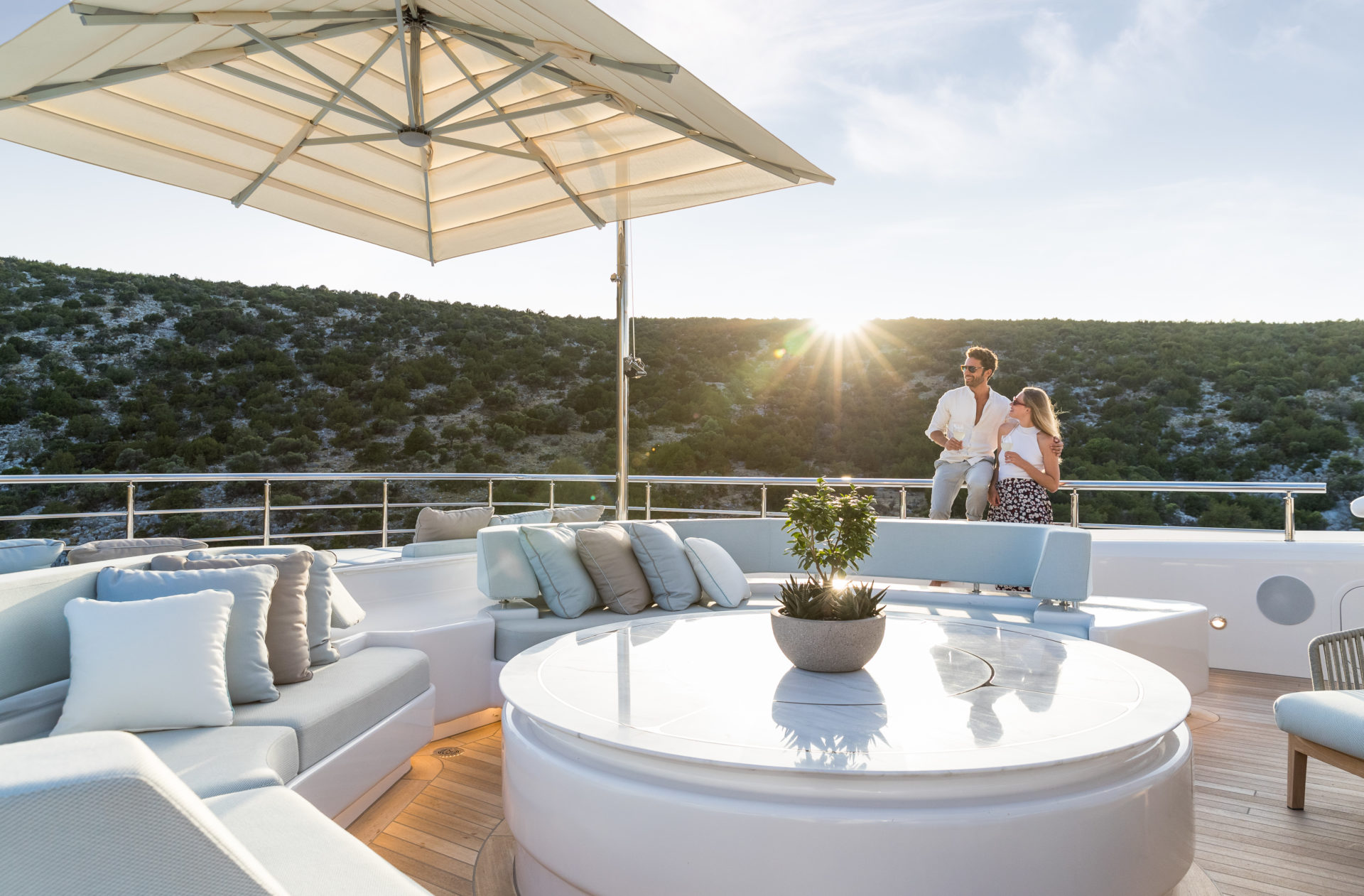 Couple on Superyacht Opari Golden Yachts