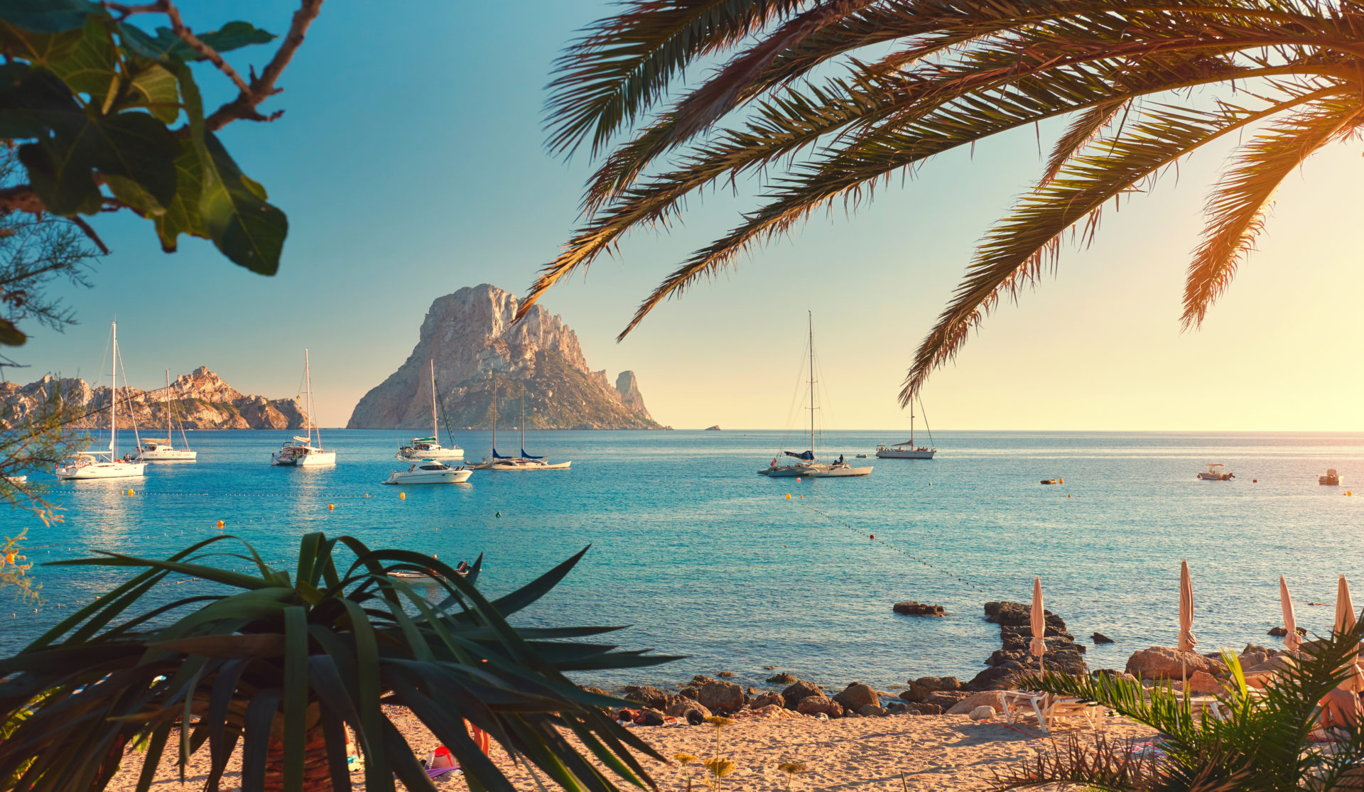 Ibiza beach at sunset TJB Yachting